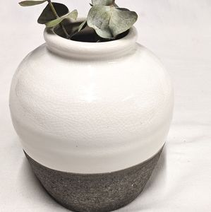 Small White and Dark Grey Vase Earth Natural Tone